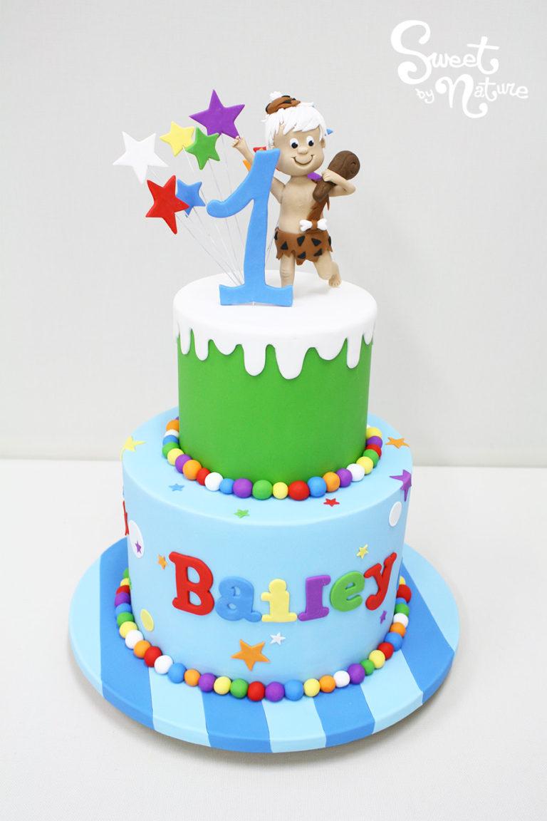 Two Tier Bam Bam Flinstones Birthday Cake