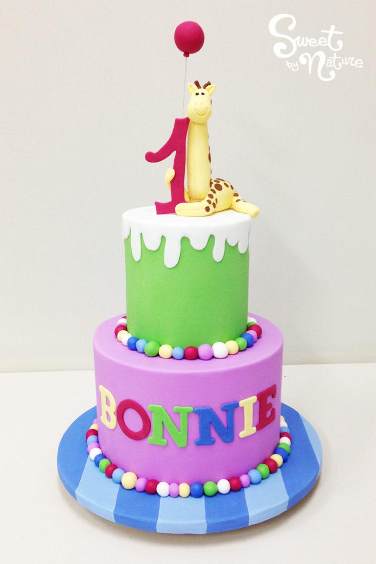 Two Tier Colorful Giraffe Birthday Cake