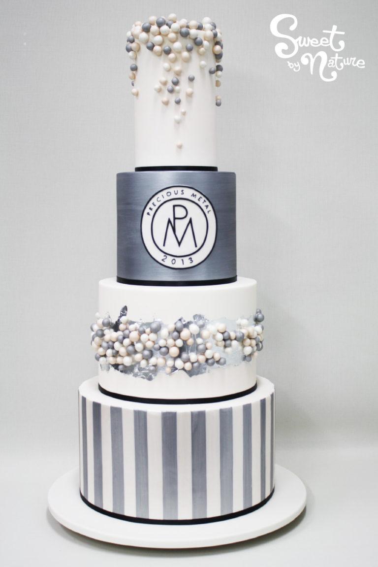 Precious Metal Four Tier Corporate Cake