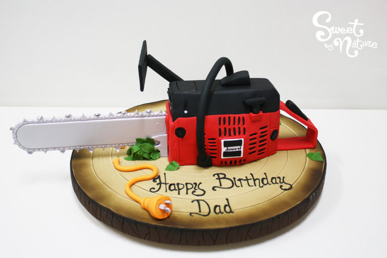 Novelty Chainsaw Gardening Cake