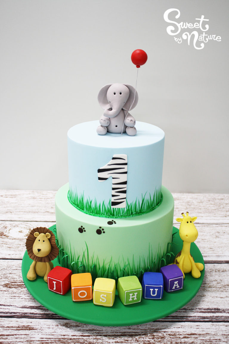 Two Tier Jungle Themed Birthday Cake