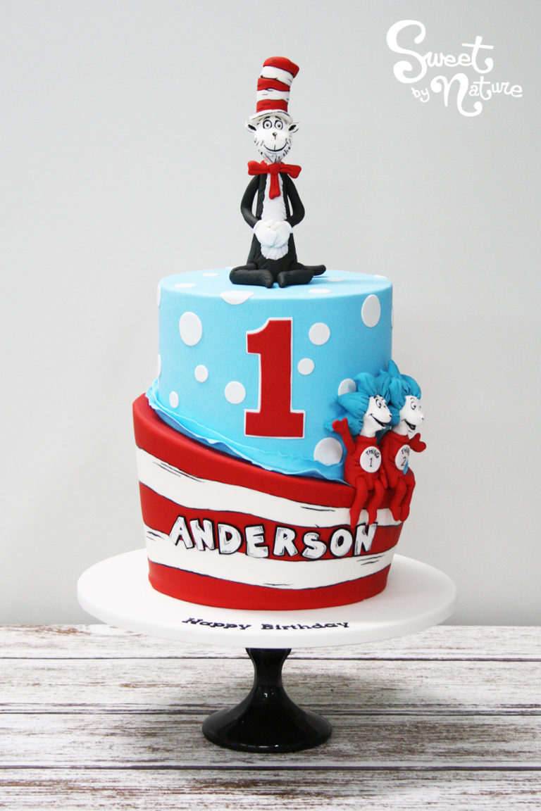 Cat in the Hat Two Tier Figurine Cake