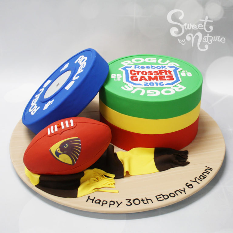 CrossFit games and weights & Hawthorn Hawks AFL football club scarf 30th birthday cake