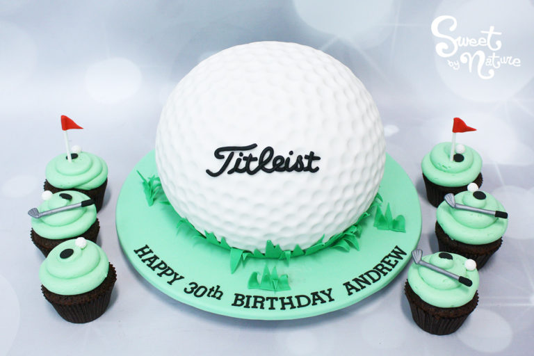 Titleist golf club 30th birthday cake and cupcakes