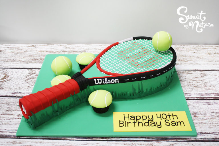 Novelty Wilson racquet tennis ball cake