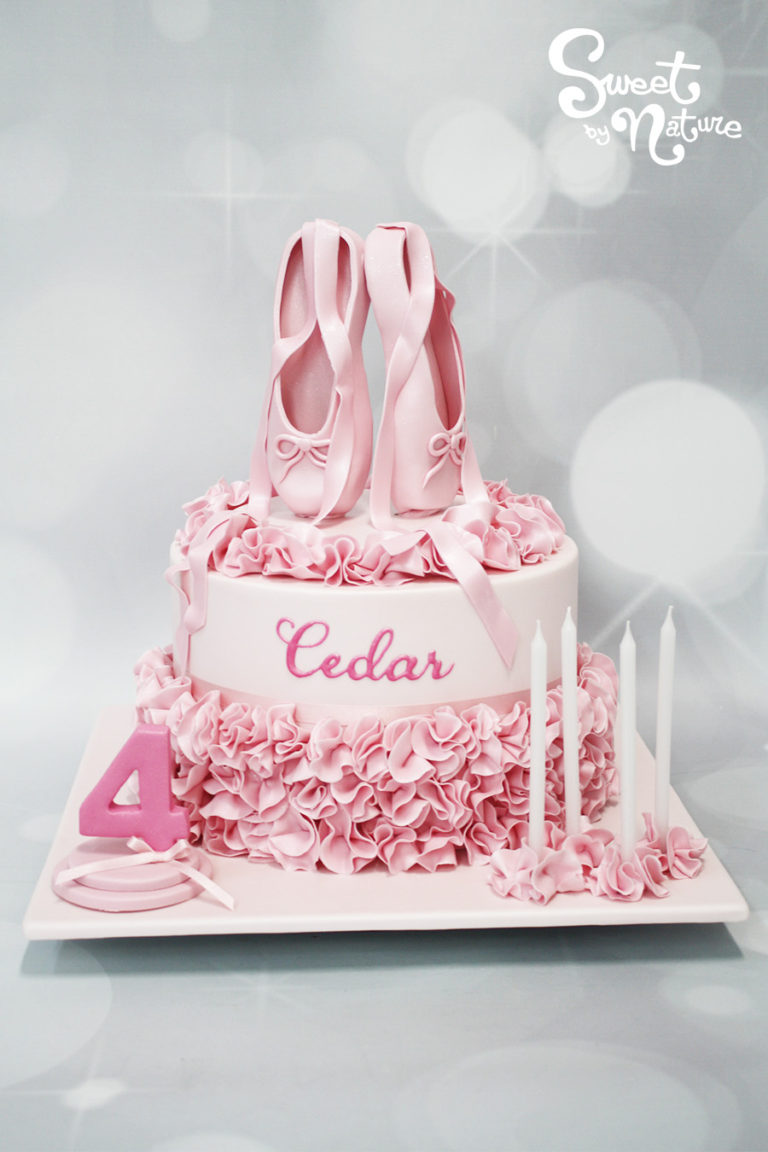 Pink ballerina cake with ballet slippers