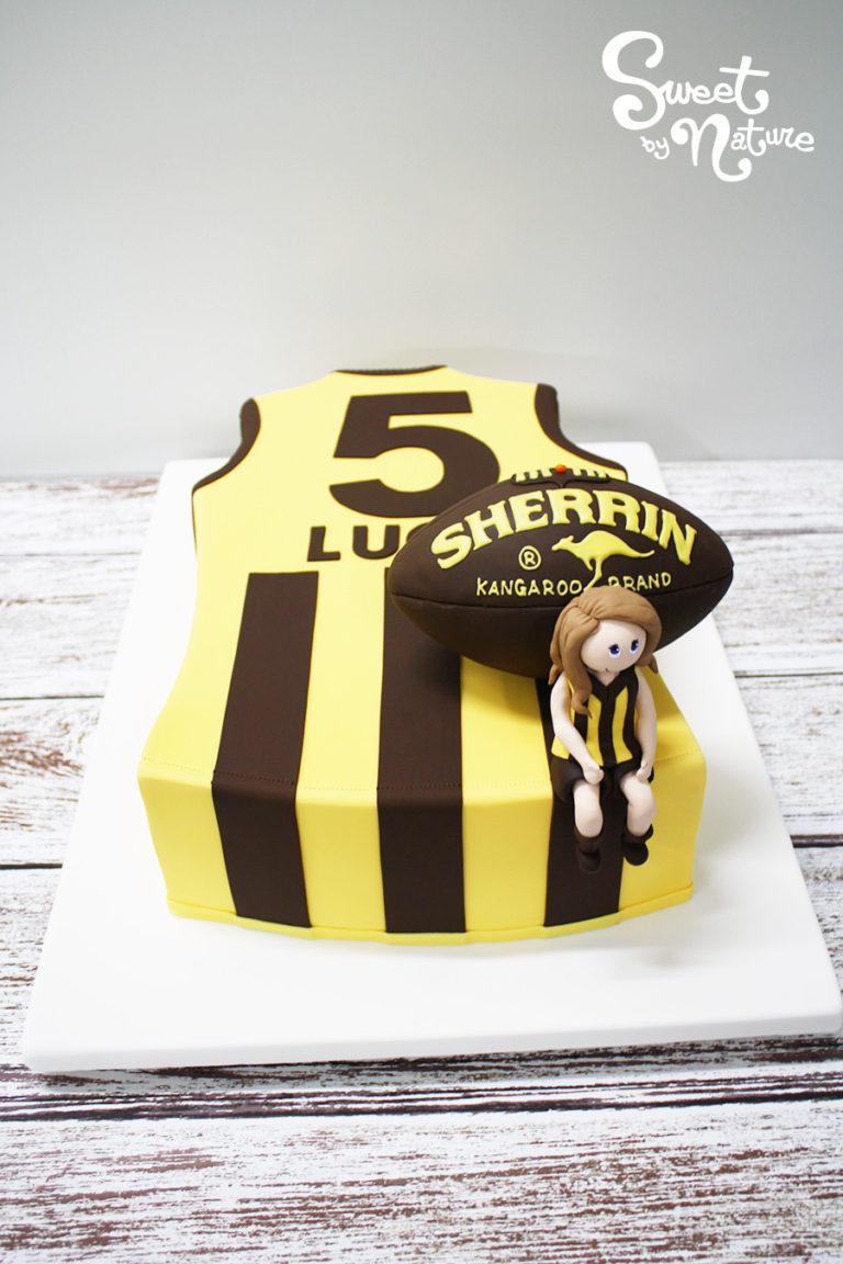 Novelty AFL Hawthorn hawks football jersey with Sherrin football cake