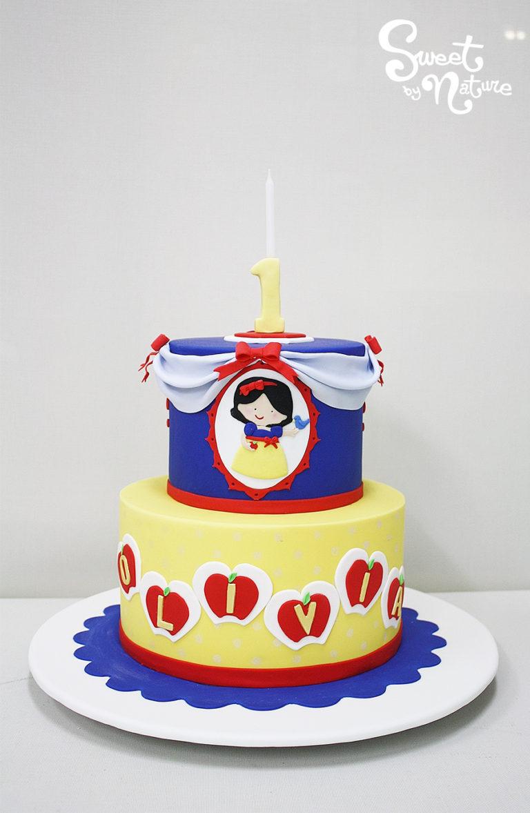 Two Tier Snow White Themed Birthday Cake