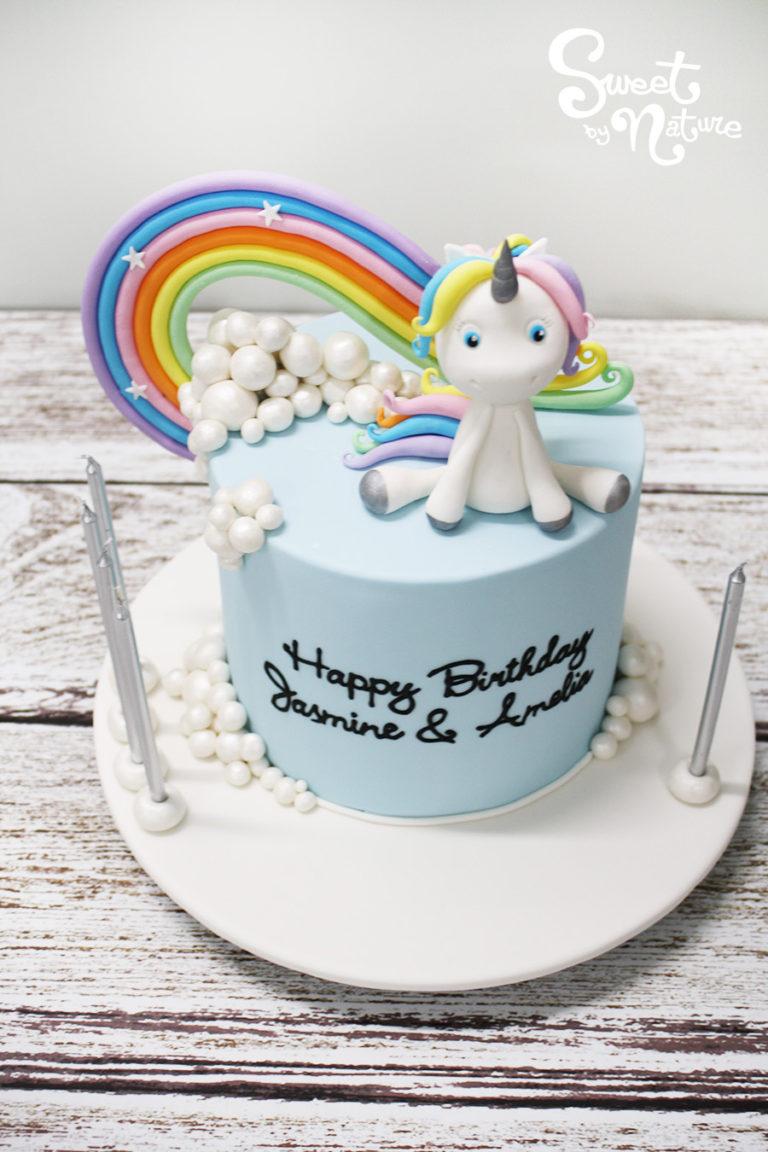 Rainbow Unicorn in the Clouds Cake