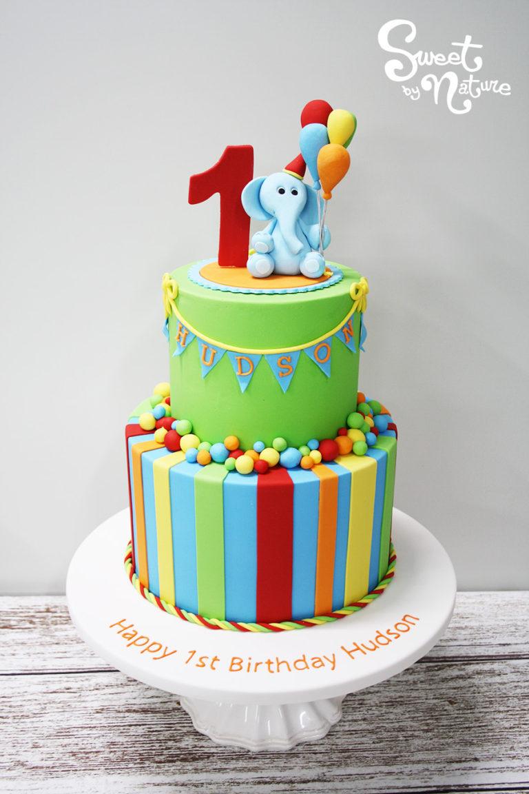 Colorful Circus Elephant Birthday Cake