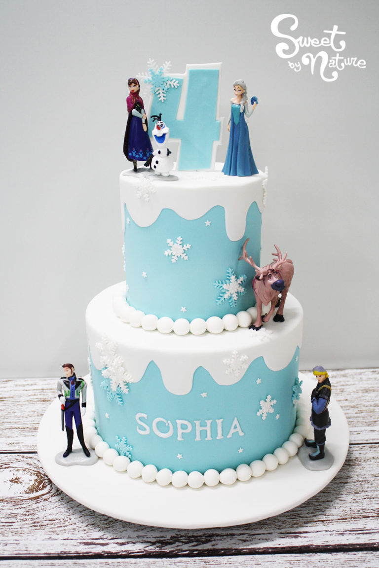 Two Tier Frozen Cake with Frozen Figurines