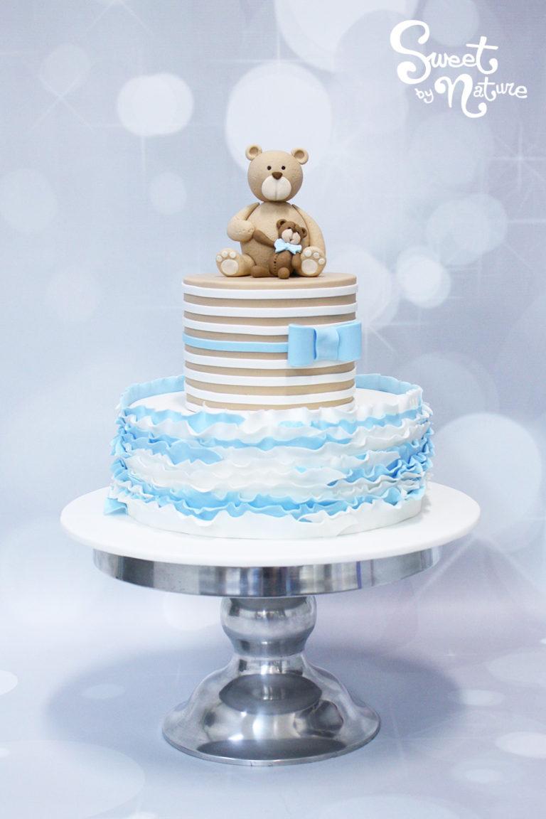 Bear and Bear Cub Pastel Blue Ruffle Cake
