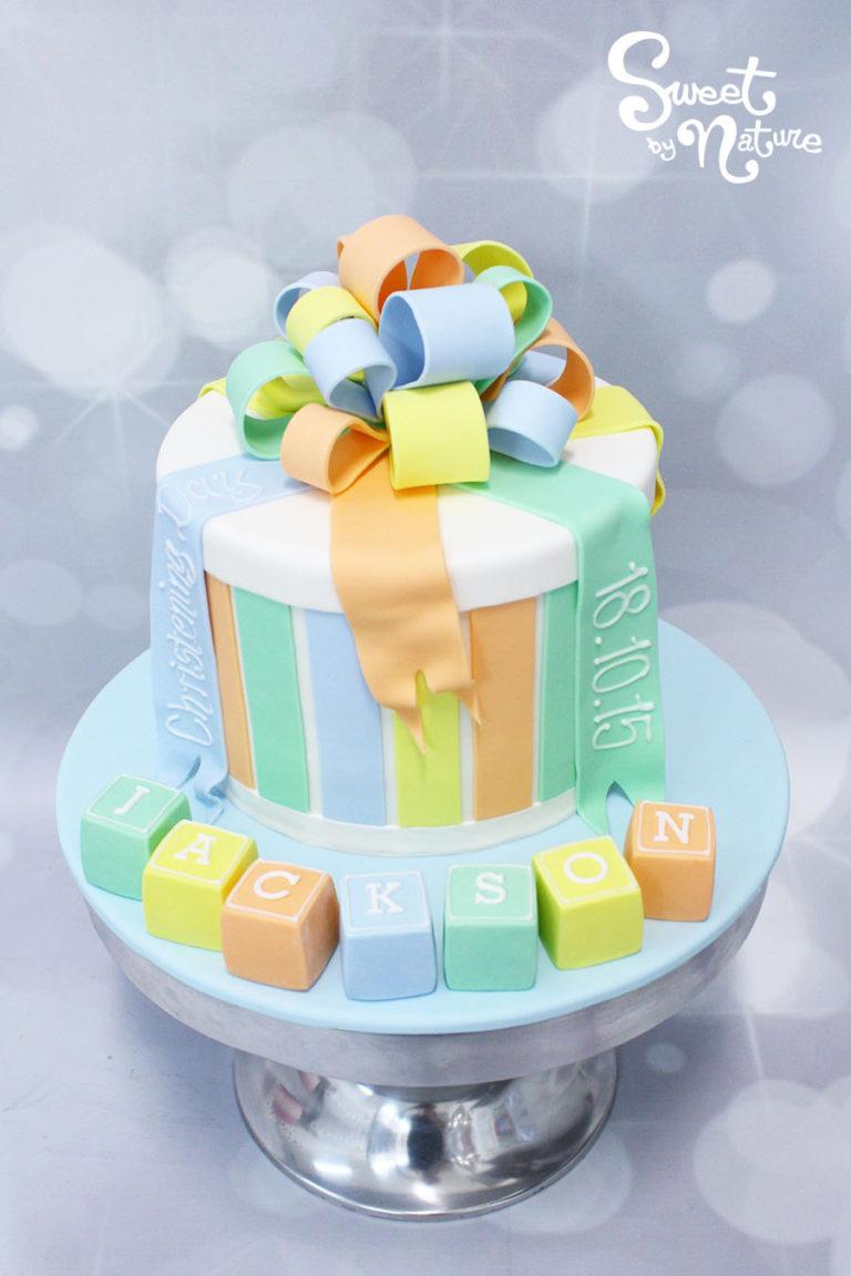 Pastel Present Box Cake with Baby Block Name