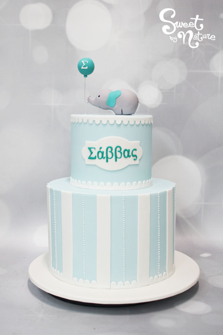 Pastel Blue Two Tier Cake With Elephant Topper
