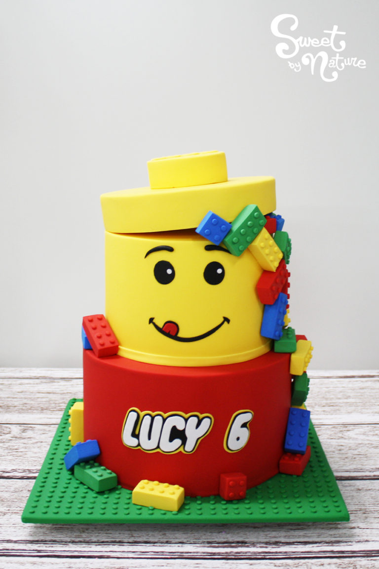 Two Tier Lego Head Cake